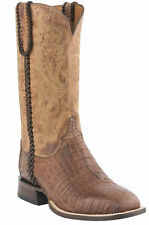 Lucchese M2617 Mens Barnwood Tan Caiman Crocodile Belly Western Cowboy Boots
