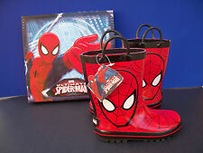 Spiderman Rain Boots Marvel Waterproof  Youth Sizes  Medium, Red & Black
