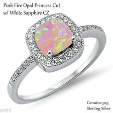 Princess Cut Promise Engagement Pink Fire Opal Sterling Silver Ring Size 3 - 12