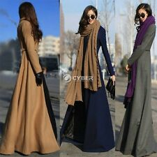 Women Cardigan Zip Wool Coats Full Length Coat Long Jacket Trench Coats M L XL
