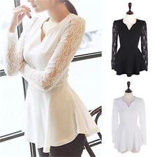Casual Flared Peplum Women Fashion Casual Lace Shirt Chiffon Blouses T Shirt Top