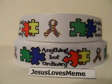 Grosgrain Ribbon, Autism Awareness, Anything But Ordinary, Puzzle Pieces, 7/8""