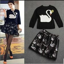 Girls Fashion 3/4 Sleeve Round Neck Swan Pattern Bubble Floral Knit Dress Suits