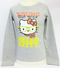 Girls Young But Wise Hello Kitty Long Sleeve T Shirt Grey