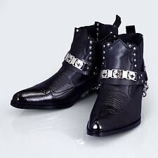 Mens Faux Leather Ankle Boots Western Cowboy Biker Casual Bike Shoes Korea Made