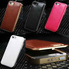 Original FINEDAY Metal + Real Genuine Leather Cover Case For iPhone 5/5S/6/Plus