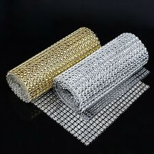 24 Rows Wedding Diamond Mesh Wrap Roll Sparkle Rhinestone Looking Ribbon 4.6''