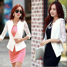 Elegant Korean Fashion Womens Slim One Button Lace Suit Blazer Jacket Outerwear
