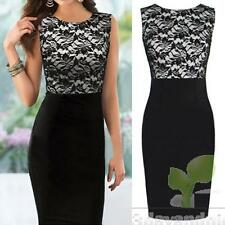 Sexy Women's Sleeveless Floral Lace Cocktail Party Evening Bodycon Pencil Dress