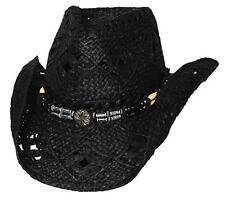 NEW Montecarlo Bullhide ALL SUMMER LONG Western Cowboy Hat Raffia Straw Black