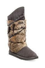 New Australia Luxe Collective Women's Chain Rabbit Atilla Fur Boots shoes Grey