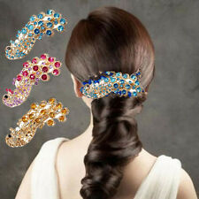 Retro Peacock Full Crystal Rhinestones Barrette Hair Clip Bridal Decoration