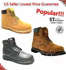 Kingshow Men's Water Resistant All Season Work Boots Leather 8036 + FREE SOCKS