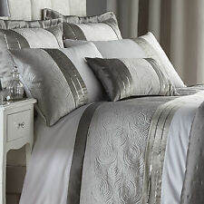Catherine Lansfield Gatsby Silver Sequin Quilted Duvet Quilt Cover Bedding Set
