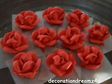 "10- 1 1/4"" Sugar Royal Icing Edible Rose Flower Cake Decor Handmade by Me in USA"
