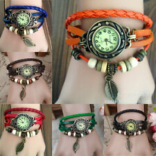 Fashion Women Handmade Retro Leather Bracelet Leaf Decoration Quartz Wrist Watch