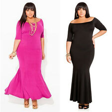 Fashion Women Sexy Off Shoulder Bodycon Party Gown Cocktail Long Dress Plus Size