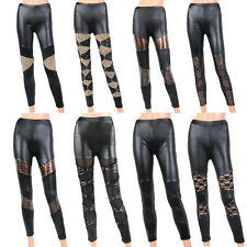 Women's Style NEW!Sexy Black Faux Leather Leopard Print Lace Tights Pants