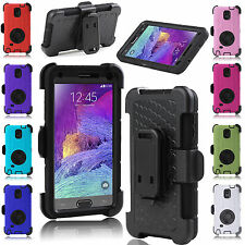 For Samsung Galaxy Note 4 Rugged Hybrid Impact Hard Case Soft Cover Clip Holster