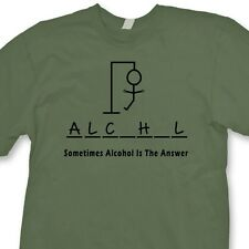 Sometimes Alcohol IS The Answer T-shirt Funny Party Hangman game Tee Shirt