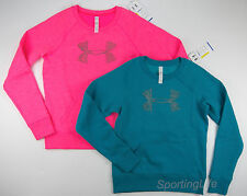 Under Armour Women's UA SHIMMER LOGO Charged Cotton Sweatshirt Blue Pink 1253741