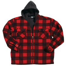 Men's Heavyweight Plaid Jacket w/ Hood S M L XL 2XL 3XL 4XL 5XL 6XL Red Blue New