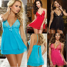 Sexy Lingerie Nightwear Underwear Ladies Sleepwear Babydoll+G String Lace Dress