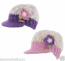 WOMENS KUSAN 100% WOOL PEAK BEANIE HAT IN PINK OR PURPLE WITH FLOWER BROOCH