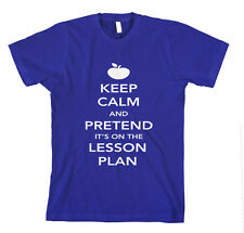 KEEP CALM AND PRETEND ITS ON THE LESSON PLAN Unisex Adult T-Shirt Tee Top