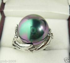Fashion Natural 14mm Black South Sea Shell Pearl Wedding Jewelry Ring Size 7/8/9