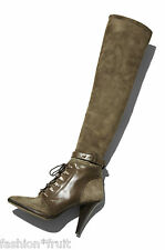 H&M Studio Suede Knee High Heel Leather Military Lace Boots Khaki UK 4 5 7.5