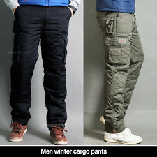 Men Winter cargo pants lined thermal work trousers fatigue Black & Camo color
