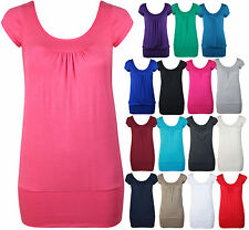 Womens Short Cap Sleeve Ladies Stretch Ruched Gathered U T-Shirt Top Plus Size