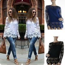 Women Sheer Sleeve Embroidery Lace Crochet Tee Chiffon Shirt Top Blouse