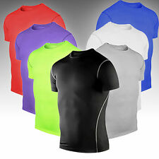 Mens Sportswear Compression Base Layers Under Tops Shirts Skins Short Sleeve Tee