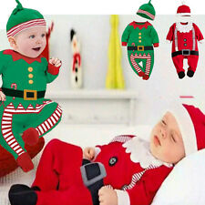 2014 New Baby Christmas clothes holiday outfits boy girl Romper hat set for 0-2Y