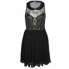 WOMEN LADIES SKATER DRESS PETER PAN COLLAR DRESSES FLARED CHIFFON SKIRT LACE TOP
