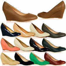 L2A Womens Low Mid Heel Court Shoes Smart Casual Office Work Pumps Ladies Wedges