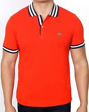Lacoste Men's Short Sleeve Stripe Collar Pique Polo Shirt PH3390 J1C Authentic
