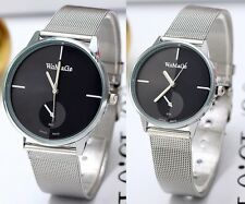 Womens Mens New  Classic Quartz Stainless Steel Couple's Gift Wrist Watch