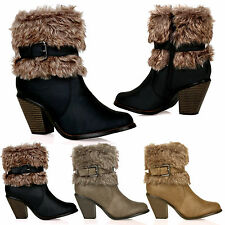D1Y Womens Mid Block Heel Fur Lined Cowboy Ankle Boots Buckle Ladies Shoes Size