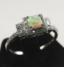 Elegant Princess Promise Engagement Moon Fire Opal w/ CZ Sterling Silver Ring