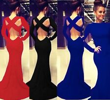 Long Sleeve Maxi Formal Evening Ball Gown Party Prom Backless Bodycon Fit Dress