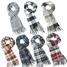 Men's Winter Fashion Soft Warm Tassel Long Wrap Scarf Multicolor Plaid