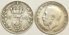 1911 - 1919 George V Sterling Silver Threepence First Design Your Choice of Date