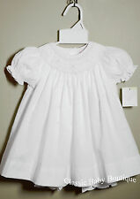 NWT Petit Ami White Smocked Bishop Dress 3 6 9 Months Baby Girls Bloomers