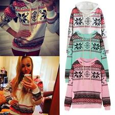 Women Warm Hoody Christmas Xmas Jumper Top Snowflake Sweater Sweatshirt Pullover