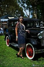 UK6 TO UK30 Navy Blue Vintage 1920s Flapper Gatsby Downton Abbey Beaded Dress
