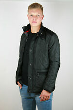 MENS DIAMOND QUILTED PADDED JACKET Black Hunter Coat Cord Patches Collar