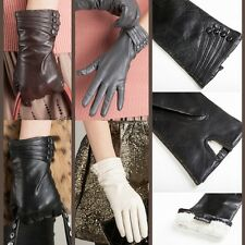 Custom Made Women LADY LAMBSKIN leather Warm Winter gloves Christmas gift